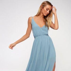 Lulus Lost in Paradise Slate Blue Maxi Dress